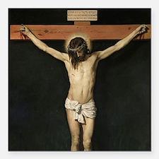 """Jesus Crucifiixion Square Car Magnet 3"""" x 3"""""""