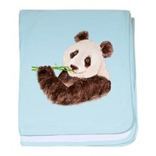Watercolor Panda Asian Bear baby blanket