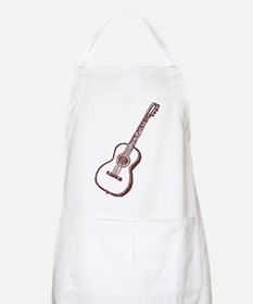 Brown Woodcut Guitar BBQ Apron