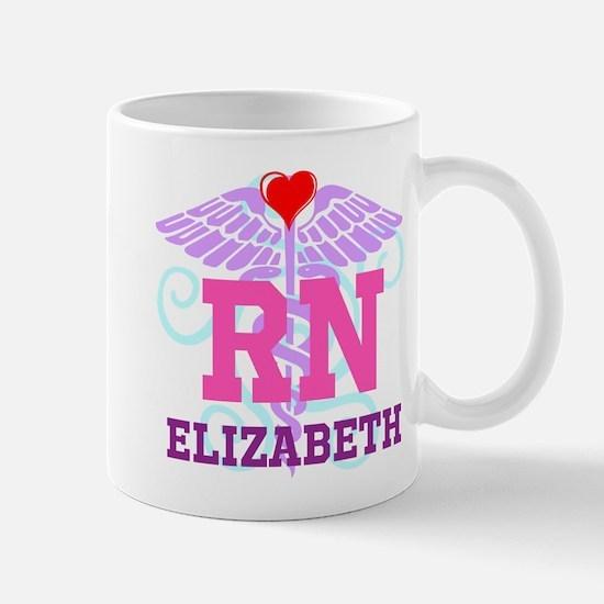 Personalized RN Swirl and Heart Mugs