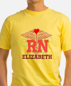 Personalized RN Swirl and Heart T-Shirt