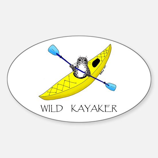 kayaking seal Oval Decal