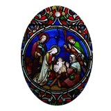 Christmas nativity stain glass Oval Ornaments