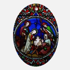 Stained Glass Nativity Oval Ornament