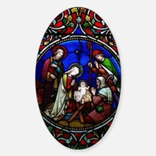 Stained Glass Nativity Sticker (Oval)
