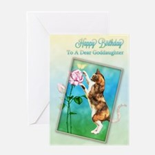 To a goddaughter, Birthday with a playful cat Gree