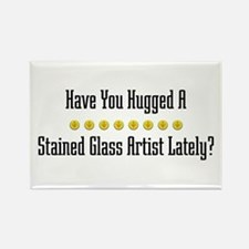 Hugged Stained Glass Artist Rectangle Magnet