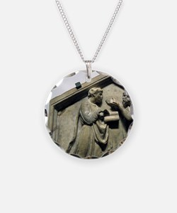 Relief. Plato and Aristotle. Necklace Circle Charm