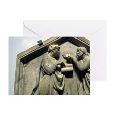 Relief. Plato and Aristotle. Renaiss Greeting Card