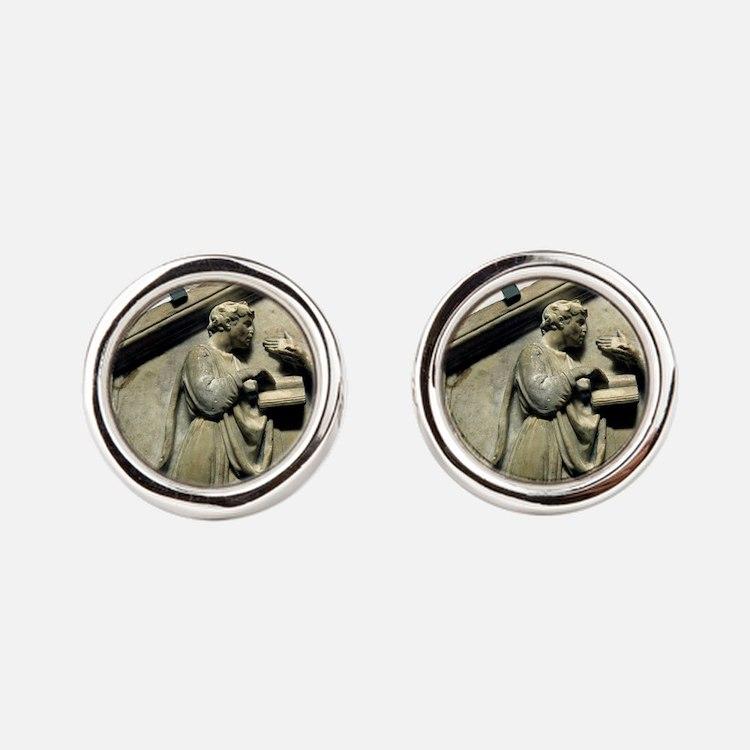 Relief. Plato and Aristotle. Renai Round Cufflinks