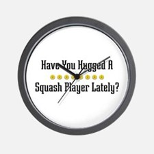 Hugged Squash Player Wall Clock