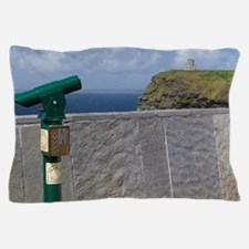 Green telescope at the Cliffs of Moher Pillow Case