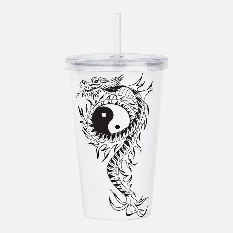 Yin Yang Dragon Acrylic Double-wall Tumbler