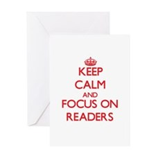 Keep Calm and focus on Readers Greeting Cards
