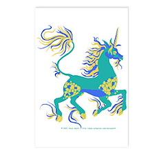 Tricolour Unicorn AquaBlueGold Postcards (Package