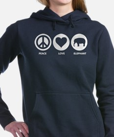 Peace Love Elephant Women's Hooded Sweatshirt
