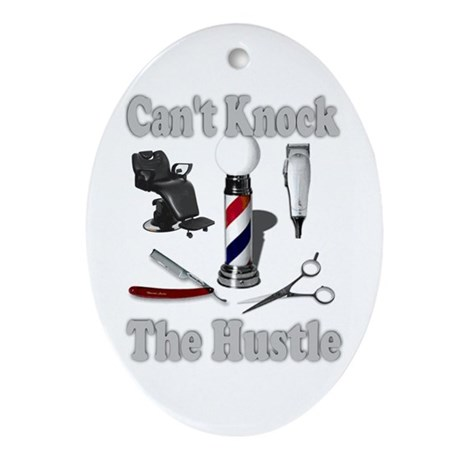 Cant Knock The Hustle-Grey Oval Ornament