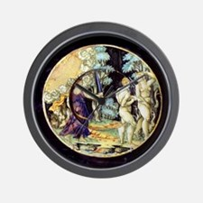 Maiolica plate. Adam and Eve being driv Wall Clock