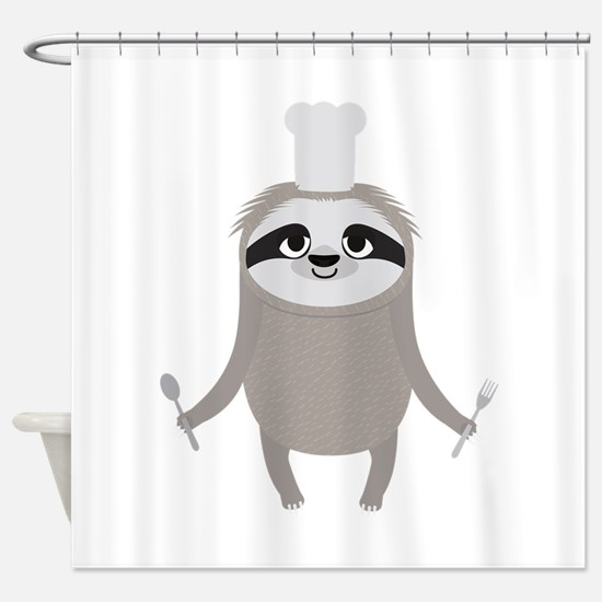 Sloth cook chef with fork and spoon Shower Curtain