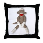 Sock Monkey Sitting Throw Pillow
