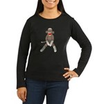 Sock Monkey Sitting Women's Long Sleeve Dark T-Shi