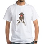 Sock Monkey Sitting White T-Shirt