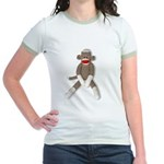 Sock Monkey Sitting Jr. Ringer T-Shirt