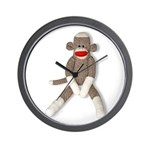 Sock Monkey Sitting Wall Clock