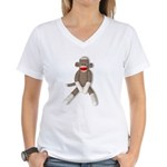 Sock Monkey Sitting Women's V-Neck T-Shirt