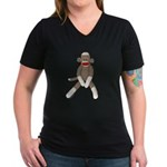 Sock Monkey Sitting Women's V-Neck Dark T-Shirt