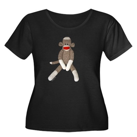 Sock Monkey Sitting Women's Plus Size Scoop Neck D