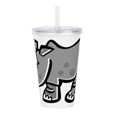 Cute Cartoon Rhinoceros Acrylic Double-wall Tumble