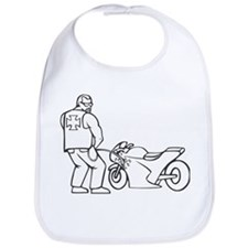 Baby Biker Bib of Rider Peeing on a Bike