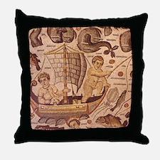 Cupids cherubs fishing. Roman fresco. Throw Pillow