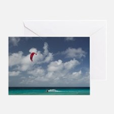 Pink Beach: Beach View with Fishing  Greeting Card