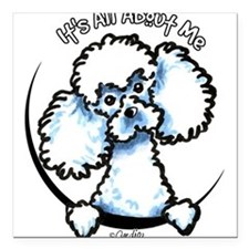 "Unique Poodle cartoon Square Car Magnet 3"" x 3"""