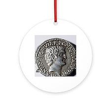 Roman coin. Mark Antony. Round Ornament