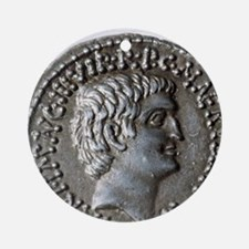 Roman coin. Mark Antony. Round Ornament