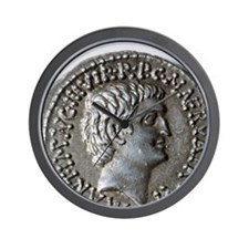 Roman coin. Mark Antony. Wall Clock
