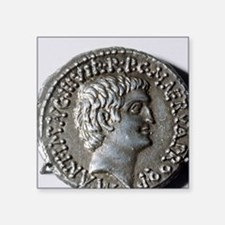 "Roman coin. Mark Antony. Square Sticker 3"" x 3"""