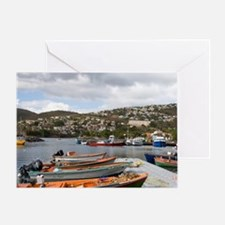 West Indies. Fishing boats & pier at Greeting Card