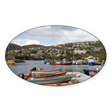 West Indies. Fishing boats & pier a Decal
