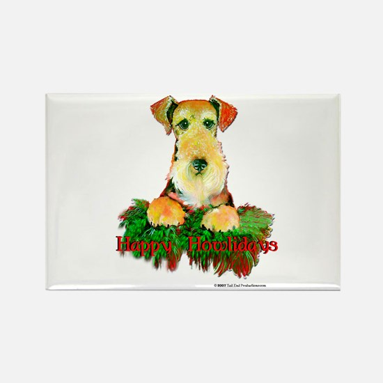 Airedale Holiday Rectangle Magnet