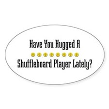 Hugged Shuffleboard Player Oval Decal