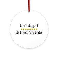 Hugged Shuffleboard Player Ornament (Round)