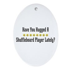 Hugged Shuffleboard Player Oval Ornament