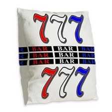 Red, White and Blue Slots Burlap Throw Pillow