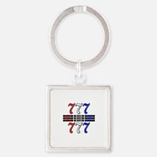 Red, White and Blue Slots Square Keychain