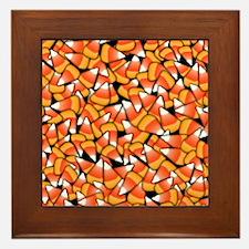 Candy Corn Pattern Framed Tile