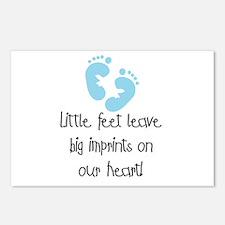 Baby Footprints Blue Postcards (Package of 8)